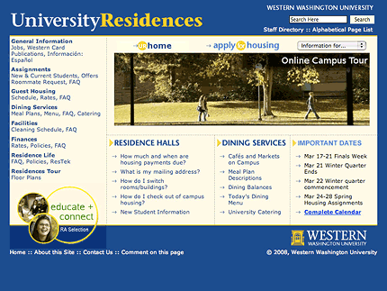 University Residences, WWU website screenshot