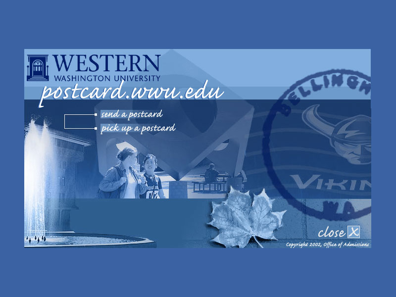 postcard.wwu.edu website screenshot