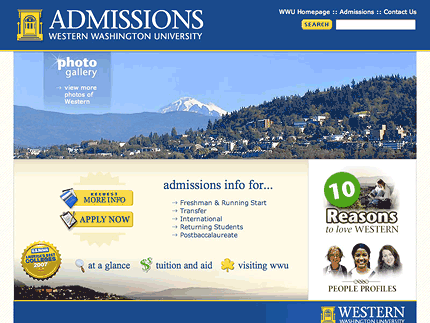 Office of Admissions, WWU website screenshot