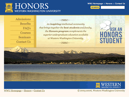 Honors Program, WWU website screenshot