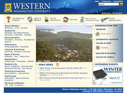 Western Washington University website screenshot